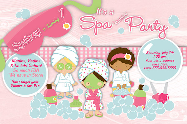 Spa Party Invitations Templates