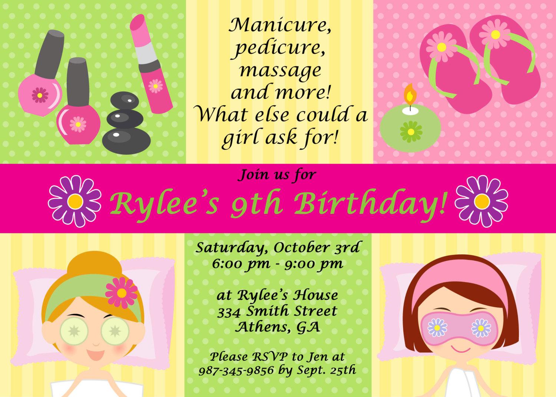 Spa Party Invitations