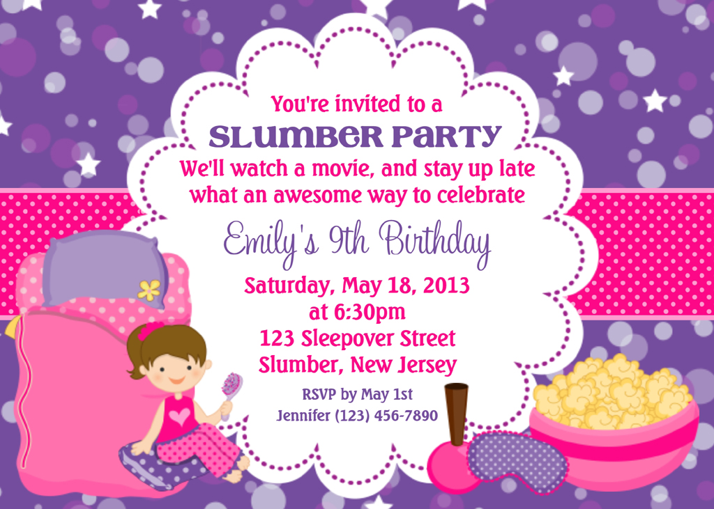 Spa Slumber Party Invitations Pool Design Ideas